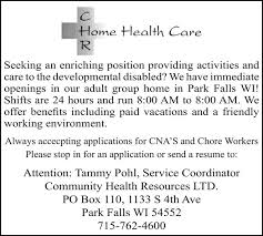 Resumes By Tammy Classy CNA'S And Chore Workers CHR Home Health Care Park Falls WI