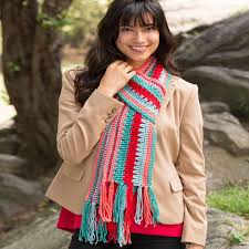 Redheart Free Crochet Patterns Mesmerizing Bright Stripes Scarf Red Heart