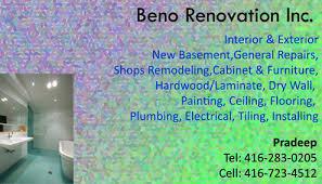Renovations Business Cards Beno Renovation Inc With Renovations