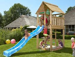 climbing frame and slide jungle cabin