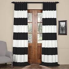 Half Price Drapes PRCT-HS06-96 Horizontal Stripe Cotton Curtian, Onyx Black  & Off/White
