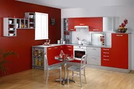 Cuisine Composition Cuisine équipée Moderne Coloris Rouge Et Gris