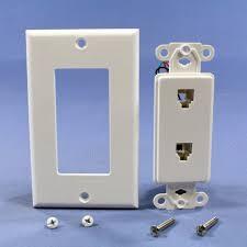 3 leviton white decora dual telephone