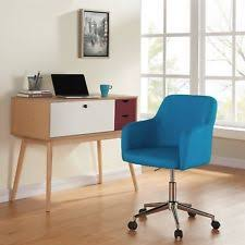 mid century desk chair. Mid Century Modern Office Desk Chair Fabric Adjustable Seat Swivel Retro Blue D