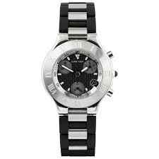 pre owned watches from berry s jewellers cartier 21 chronoscaph xxl steel black dial men s steel rubber bracelet watch · pre owned