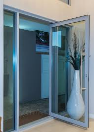 opened aluminium glass entrance door