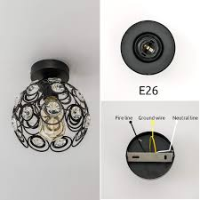 Ceiling Light Ground Wire Vintage Industrial Flush Mount Ceiling Light In Black Paint Finish With Crystal Hollow Circular Shape Mini Ceiling Light Fixture For Hallway Foyer