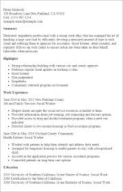 Sample Of Social Worker Resume