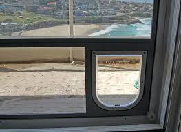 cat door for side sliding window inside view of small doggy door