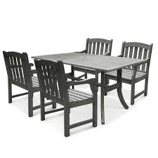 vifah renaissance acacia 5 piece patio dining set with 35 in w table and