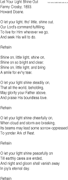 Shine Your Light Gospel Song Hymn And Gospel Song Lyrics For Let Your Light Shine Out By