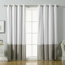 Gray and beige curtains Remodel Grey Color Block Cotton Blend Blackout Curtains In White The Home Depot Best Home Fashion 84 In Grey Color Block Cotton Blend Blackout