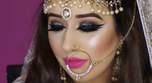 real bride nikaah asian bridal makeup bold eyes and bright pink lips arabic makeup