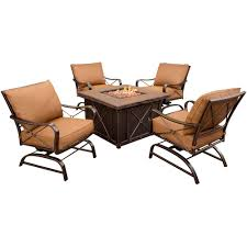 summer nights 5 piece patio fire pit set with 4 cushion rockers and 40 in square fire pit and desert sunset cushions