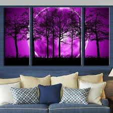 3 pcs set abstract canvas art purple land black trees canvas wall picture decoration home