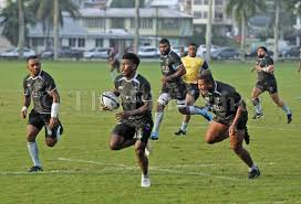frank lomani runs away from the defence during the fiji airways flying fijians training session at albert park in suva picture jonacani lalakobau