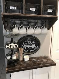 By using the rustic interior design of metal and wooden writing board it makes a stand out point of the bar. 10 Diy Coffee Bar Cabinet Ideas For The Perfect Cup Of Joe
