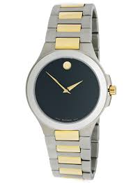 movado men s and women s watches 490 for movado men s watch corporate exclusive stainless steel two tone band black dial 0606181 995 list price