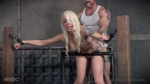 Tattooed tied up blonde Lorelei Lee gets her clothes ripped off.