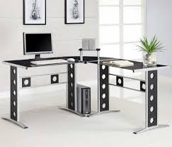 modern full glass desk. Image Of: Silver Modern L Shaped Desk Full Glass