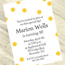 Polka Dot Invitations Yellow Polka Dot Custom Invitation