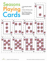Printable Playing Card Seasons Playing Cards Worksheet Education Com