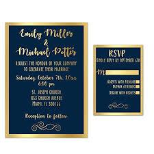 Elegant Invitation Cards Amazon Com 100 Wedding Invitations Gold Navy Blue Elegant