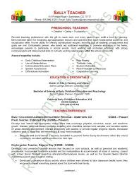Preschool Teacher Resume Samples Custom Preschool Teacher Resume
