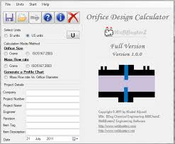 Orifice Flow Chart Orifice Design Calculator Size An Orifice Plate Using