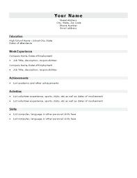 Resume Blank Format Resume Blank Format Simple Resume Template