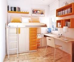 ... Contemporary Design Compact Beds For Small Rooms Great Decorating  Wooden Base White Orange Colored Shelving ...