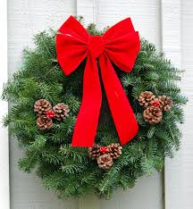 Outdoor Christmas Decorations Decoholic For The Entrance Creative  Architecture Fashionable Wreaths With Fancy Green Pine Arragement