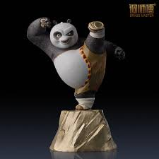 brass master brand chinese copper craft top grade kung fu panda figurine cartoon painted version home