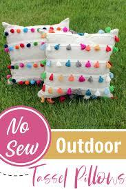 diy no sew outdoor tassel pillows 6