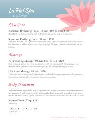Sample Spa Menu Template Spa Menu Templates and Designs from iMenuPro 1