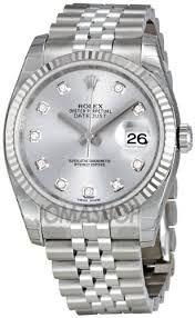 amazon com rolex datejust rhodium diamond dial 18kt white gold amazon com rolex datejust rhodium diamond dial 18kt white gold fluted mens watch 116234rdj rolex watches