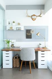 white desk for home office. small home office with gray and white striped wall wood desk tile for