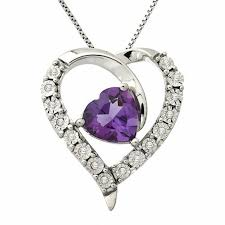 8 0mm heart shaped amethyst and 1 20 ct t w diamond pendant in sterling silver