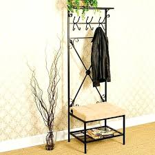 Black Metal Walnut Wood Hall Tree Coat Hat Rack Beauteous Metal Hall Tree Blvd Hall Tree Bench Black Metal Walnut Wood Hall