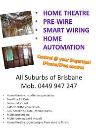 pre wire brisbane smart wiring home theatre home automation tv magic can easily pre wire your home new deck new room or extension e g whilst the frame is up and before the walls plastering goes up