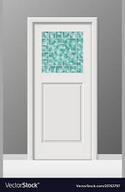 interior door with stained leaded art glass window vector image