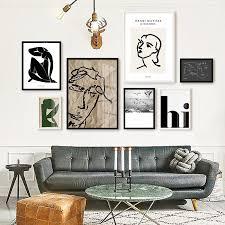 Vintage <b>Abstract</b> Matisse Line <b>Figure Minimalist</b> Europe Canvas ...