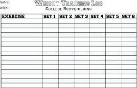 Weight Training Record Sheet Weight Training Workout Log Glotro Co