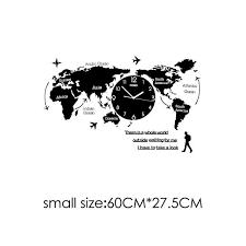 Large <b>World Map Wall</b> Clock Glow In Dark – Lewe Decor