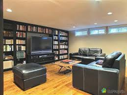 Big Bookcases With Luxury Big TV With Elegant Leather Sofas And Lowes  Wooden Table Also Stain Laminate Floor For Basement Living Room Ideas