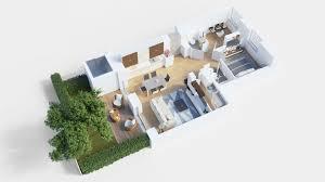 floor plan 3d. 3D Floor Plan Shoebox With Small Garden. Open Fullscreen Floor Plan 3d
