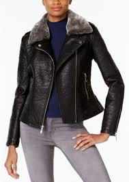 french connection faux fur trim faux leather moto jacket