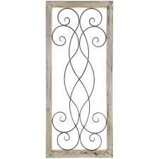 rectangle wood wall decor with swirls