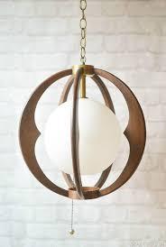 wooden sphere light fixture
