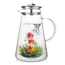 andes hot iced tea glass pitcher with stainless steel infuser lid 50 oz